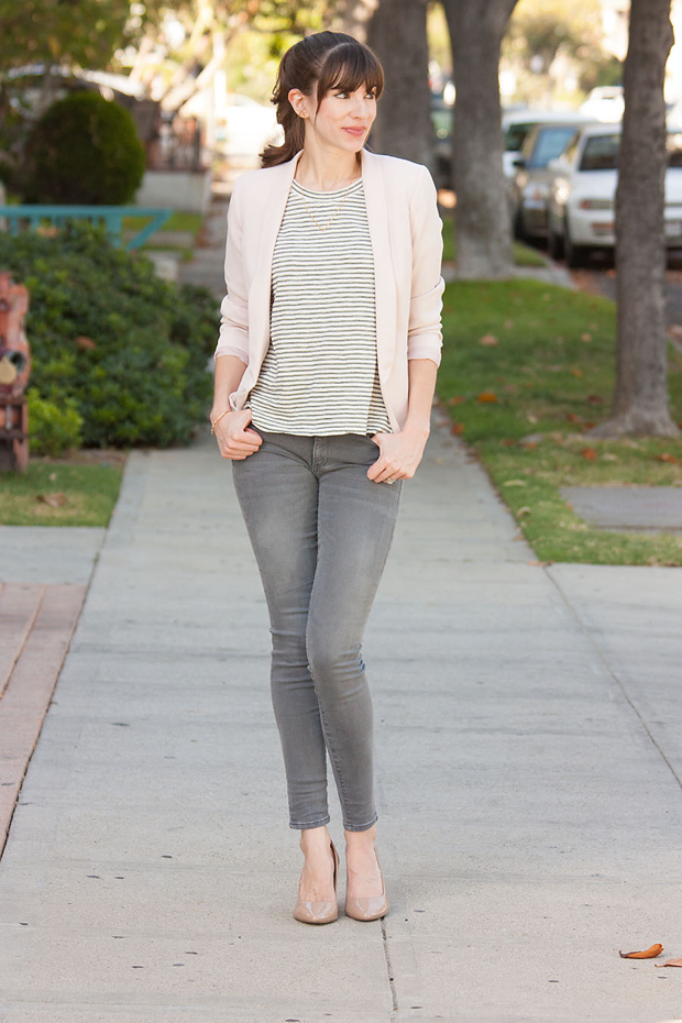 Grey Jeans, Striped Tee, Blush Blazer