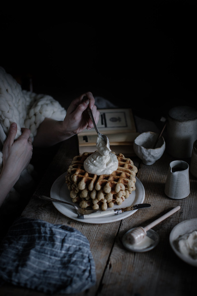 earl grey waffles + whipped honey cream