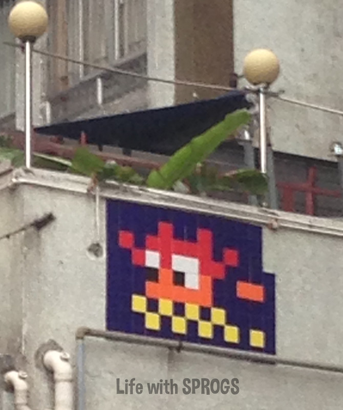 North Point 8-bit tile graffiti