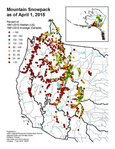 The April 1 Snowpack Map shows the dramatic, early reduction in snowpack across the West.