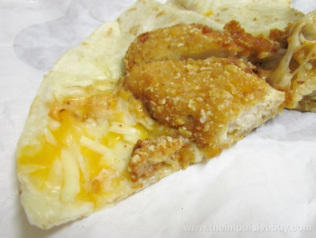 Taco Bell Double Crispy Chicken Quesadilla Inside