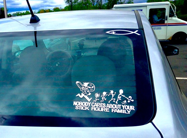 Stick figure family, Car Rear Window, Nobody Cares 5/2015, by Mike Mozart of TheToyChannel and JeepersMedia on YouTube #Stick #Figure #Family