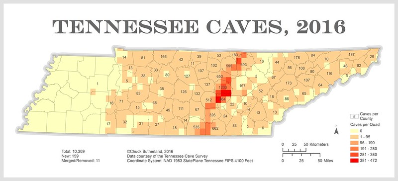 Limestone Tennessee Map.Chuck Sutherland Tennessee Cave Distribution Map 2016
