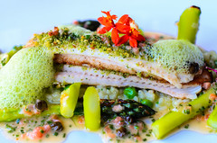 Whole-Roasted Dover Sole with Calaspara rice, English peas, roasted asparagus Grenobloise at Troquet