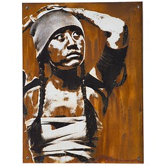 Detention - 18x24 rust print on cradled wood panel. Edition of 5. Available at.   www.eddiecolla.com #eddiecolla #salvageportraits #atavisms