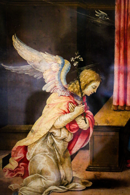 Archangel Gabriel by Filippino Lippi (part), Hermitage Museum, Saint Petersburg, Russia エルミタージュ美術館、「受胎告知」の大天使ガブリエル