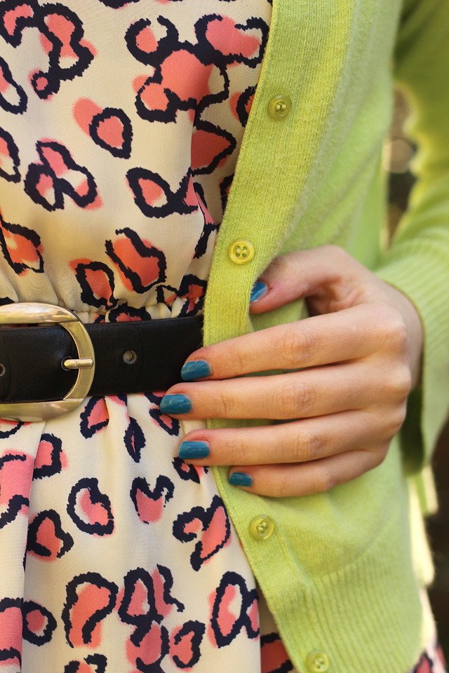 Pink Leopard Dress Detailing and a Lime Green Cardigan
