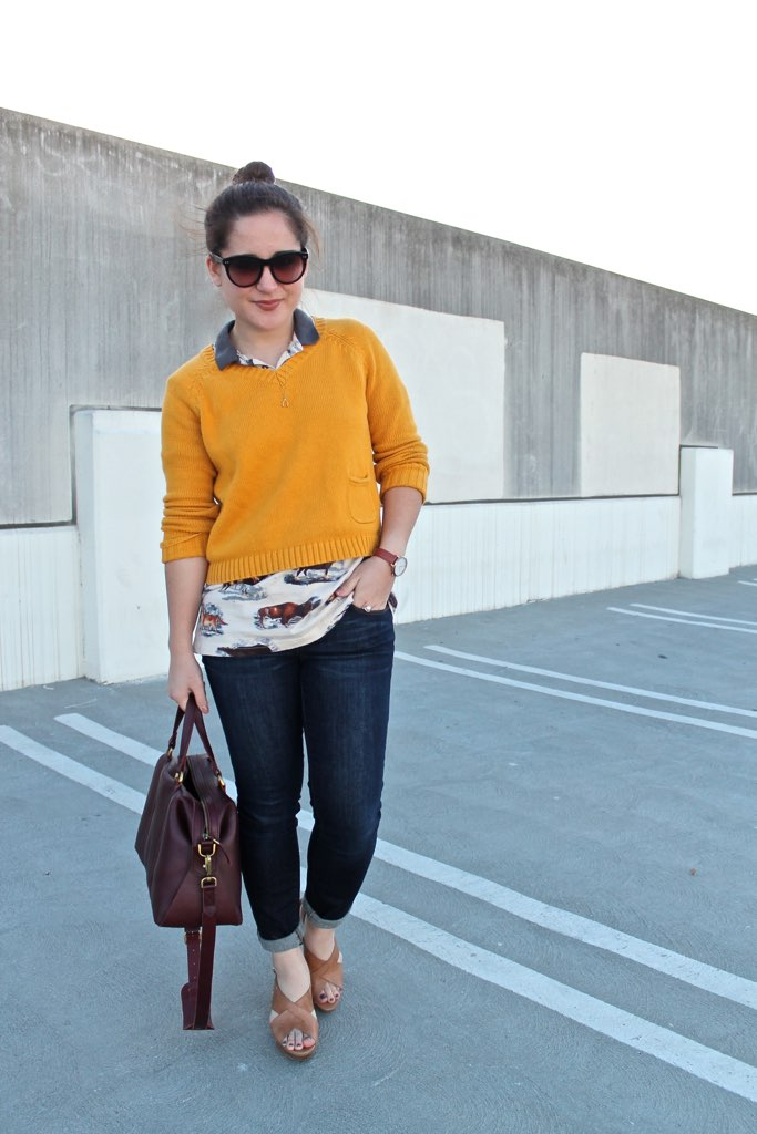 spring layering idea: printed polo + pullover sweater
