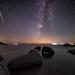 Perseid Meteor Shower over Lake Tahoe's Chimney Beach by Beau Rogers