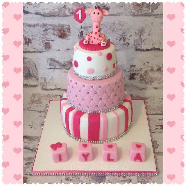 Handmade Giraffe and Baby Blocks, Pretty Pink and Sparkle Cake by Lisa Elson of LoolaBakes