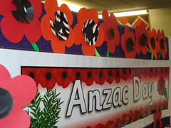 Anzac Day display at Hornby Library