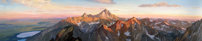 "Oil on linen | 24 x 96 inches | Not available | Notes: I bivouacked on a spur of Mt Moran called ""Drizzlepuss"" so that I could catch the evening and dawn light from this spectacular spot. This painting shows the Grand Teton complex as it is hit by the alpenglow from the west. The Lake below is Jenny Lake"