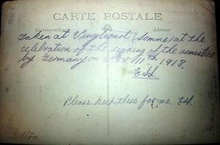 WW1 Armistice Day in Vignacourt, France - reverse