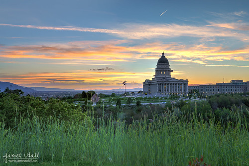 trees sunset sky building grass architecture utah flag saltlakecity dome statecapitol capitolbuilding jamesudall