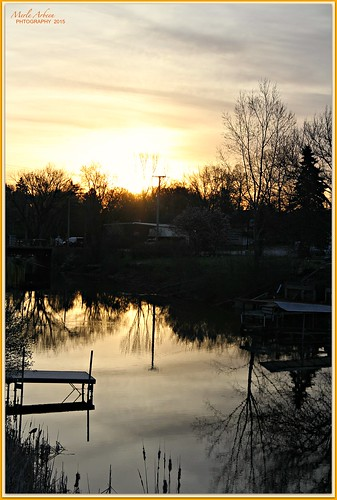 morning trees sun reflection nature water wisconsin sunrise canon river landscape dock earlymorning silhouettes channel waterscape wispyclouds waterscene foxlake picmonkey