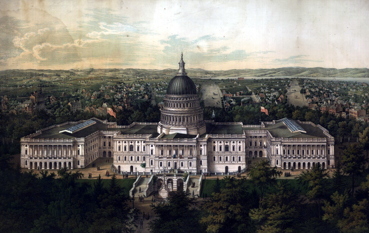 Washington City from the new dome of the Capitol, looking east, 1892