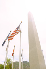 American Flag at Veterans or War Memorial - Monument to Veterans