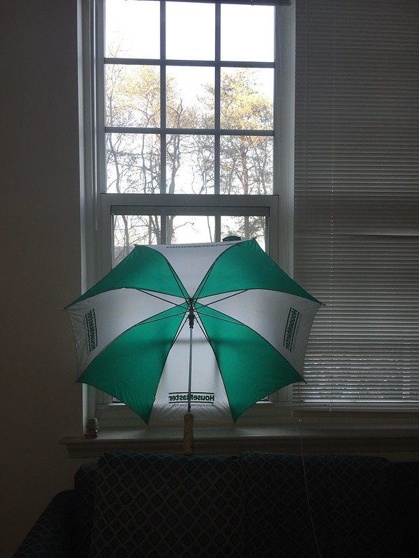 An umbrella doing the blinds job