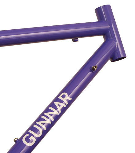 "<p>Gunnar Sport in Purple Velvet.  This 50cm size is the smallest stock 700 size with an actual seat tube of only 41.5cm.  The Sport provides a smooth ride for distance oriented cyclists.  Note the built-in head tube extension - the so-called ""fat lip"", which allows a more comfortable fit for all-day riding.</p>"