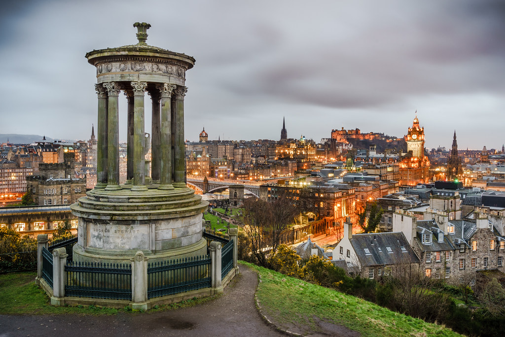View of Edinburgh from Calton Hill, Scotland, United Kingdom, cityscape photography picture