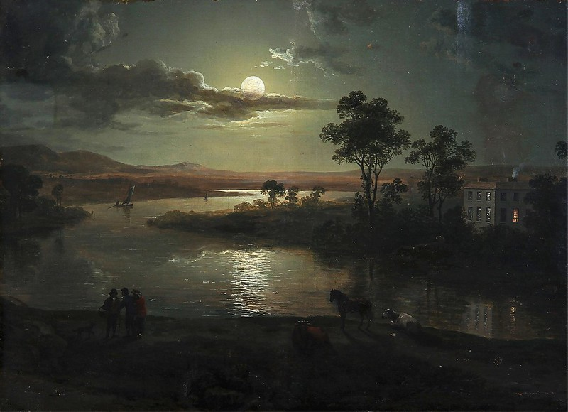 Abraham Pether - Evening scene with full moon and persons (1801)