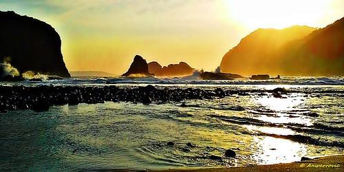 sunset sea sky sunlight seascape beach water rock sand waves jember