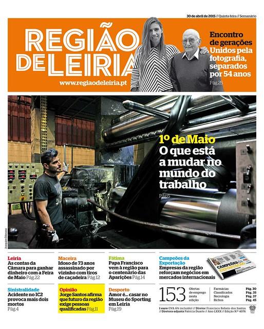 Capa Regiao de Leiria edição 4076 de 30 de abril 2015
