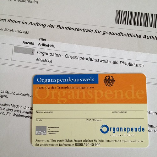 Organspendeausweis als Plastikkarte