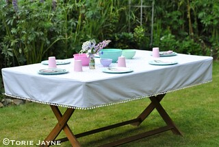 Pompom trim tablecloth