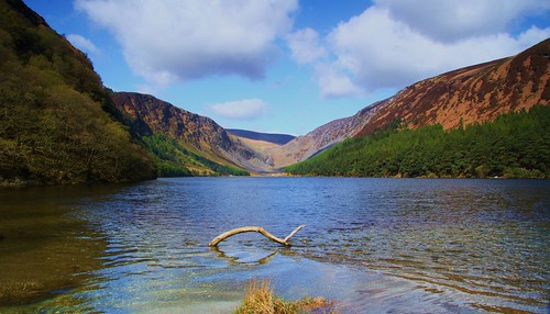 wood blue trees ireland sky lake mountains reflection green water clouds lough glendalough valley wicklowmay2015
