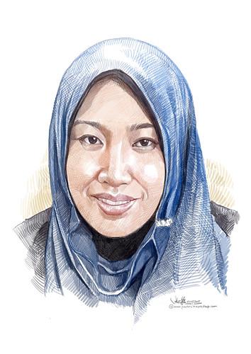 lady digital portrait in colour pencil