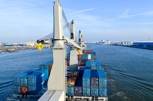 Sailing in the port of Rotterdam