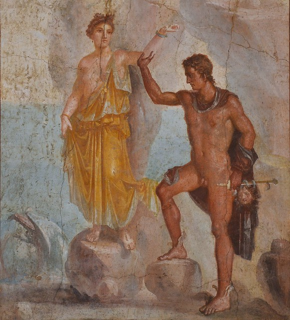 Fourth style fresco depicting Perseus releasing Andromeda from her chains on the rock, from the House of the Dioscuri in Pompeii, Naples National Archaeological Museum