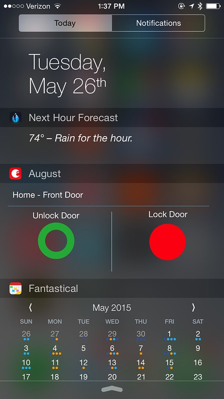 iOS August app lockscreen widget