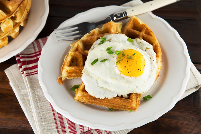 fried egg on savory waffle