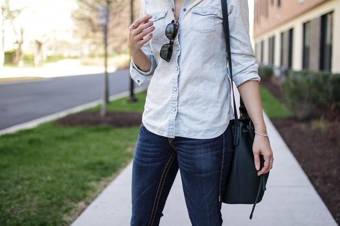 aviza style. a viza style. andrea viza. fashion blogger. dc blogger. spring style. outfit. denim on denim. chambray. bootleg jeans style. bucket bag. 12