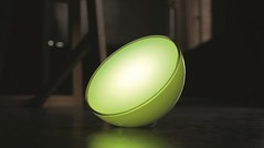 Philips' Hue Go is a small, translucent hemispherical lamp