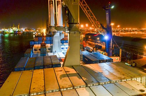 Port de Walvis Bay de nuit