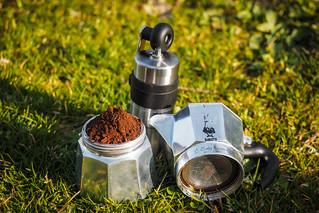 The cycle-camping coffee setup (Bialetti mokapot with Perlex coffee mill) near Onuma Lake, Hokkaido, Japan