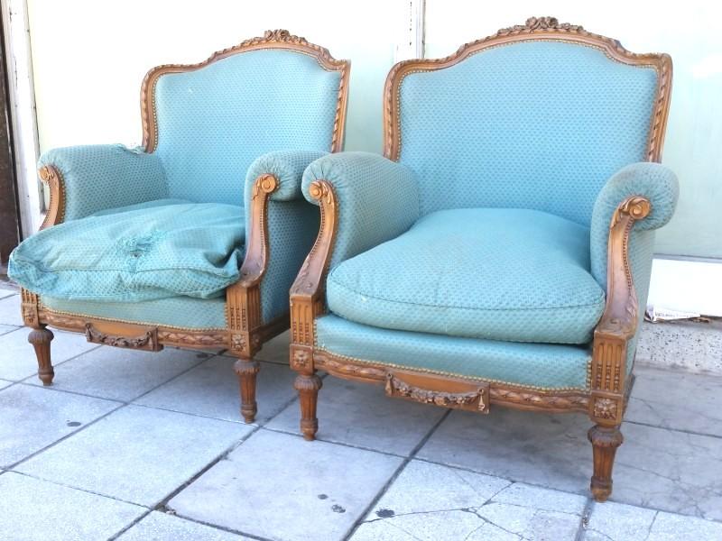 Juego de 2 sillones estilo frances luis xvi tallados - Sillones de estilo ...