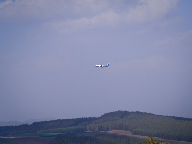 airplane in a rural town