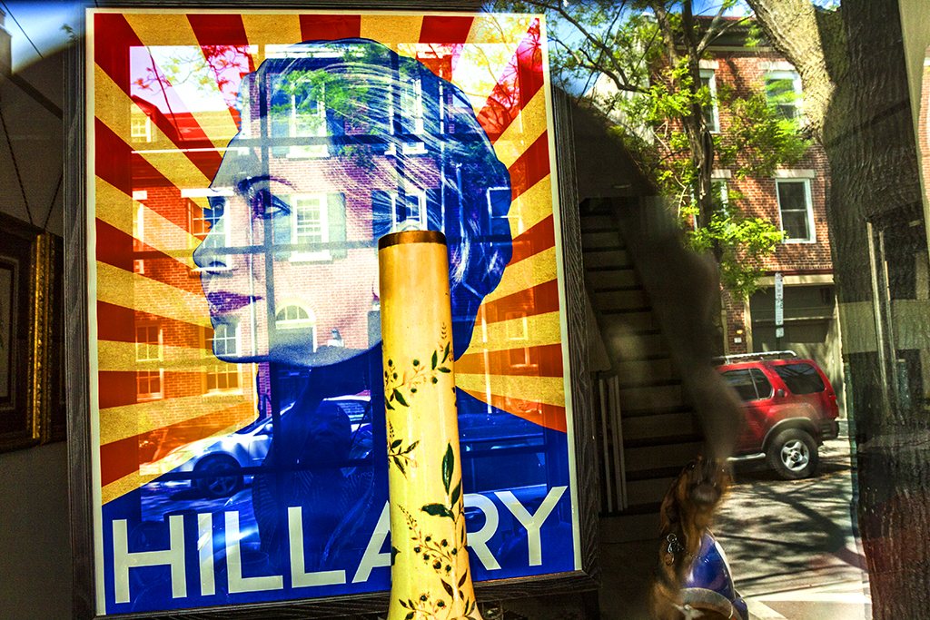 Image-of-Hillary-Clinton-in-window-of-house-at-6th-and-Bainbridge--Bella-Vista