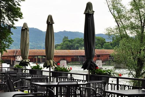 Bad Säckingen Rhein Rheinblick Café Schlosspark Teehäuschen Terrasse