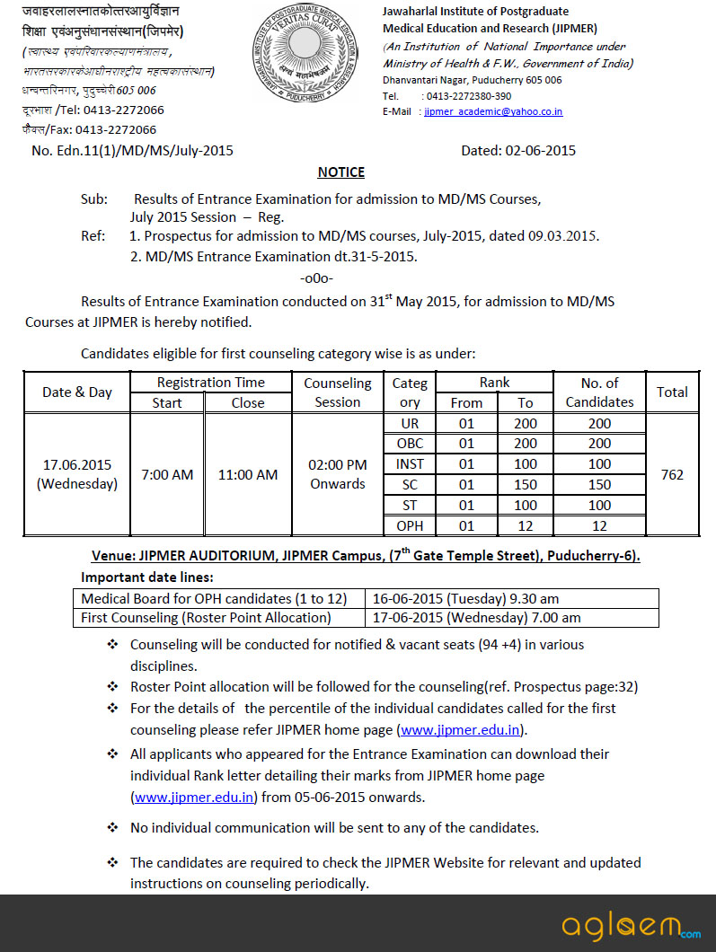 JIPMER PG (MD / MS) Counselling 2015