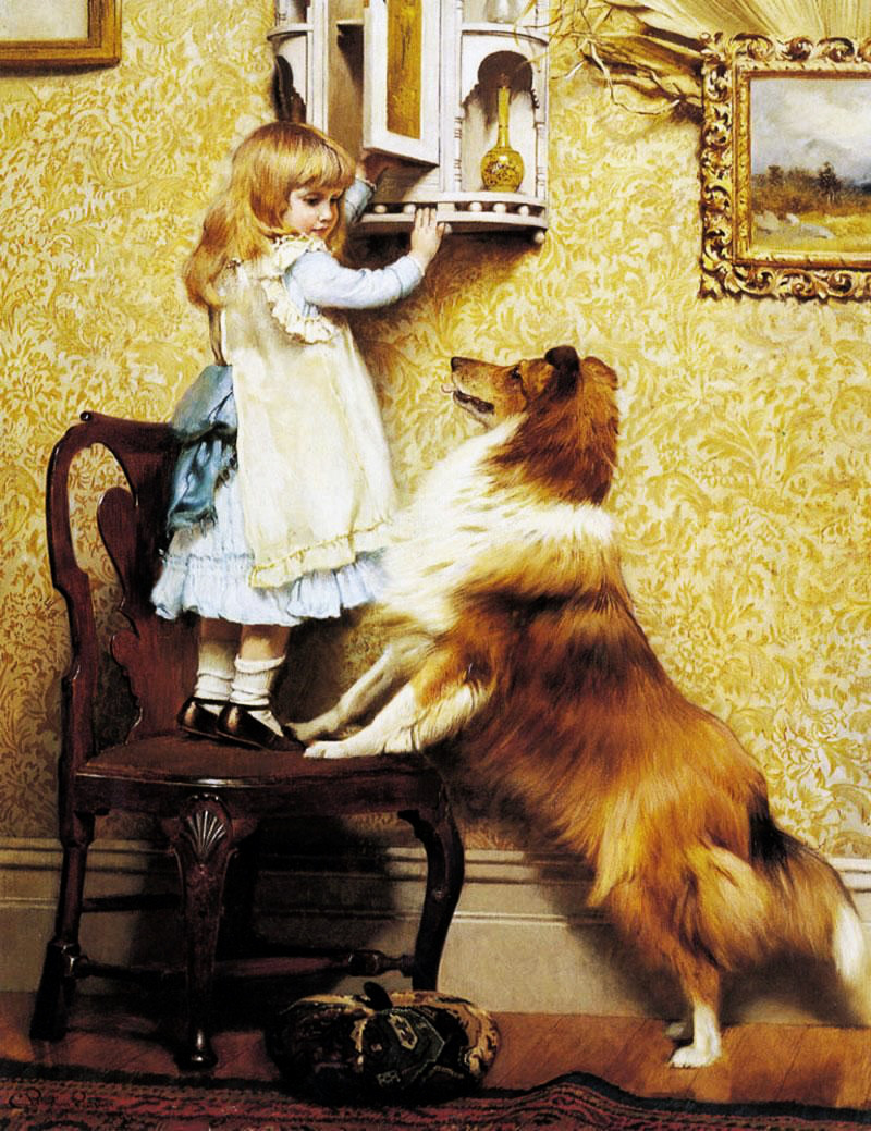 A Little Girl And Her Sheltie by Charles Burton Barber