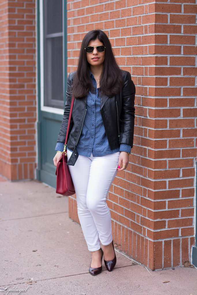 chambray shirt, white jeans, black leather jacket-2.jpg