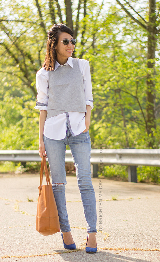 cropped gray vest, white dress shirt, distressed jeans, blue suede pumps