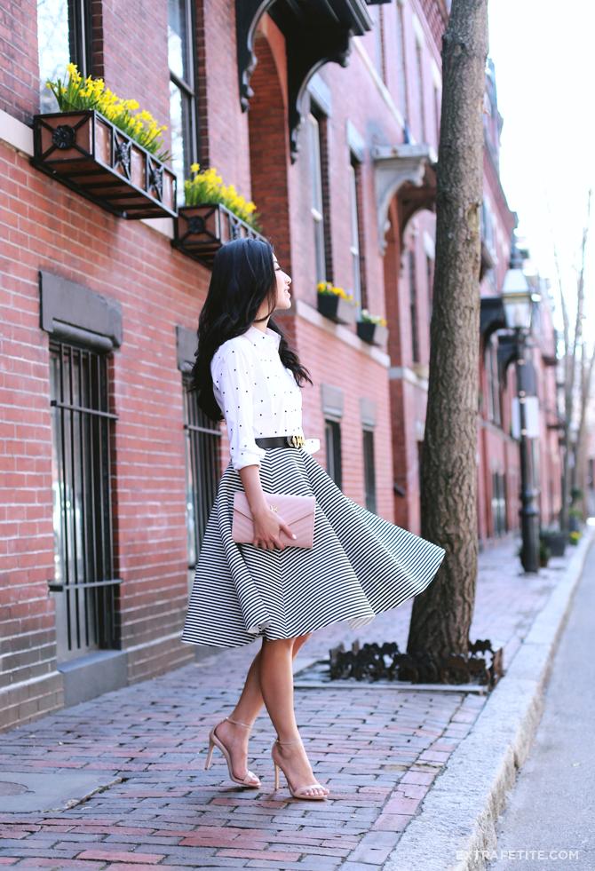 Ann Taylor dot shirt stripe skirt outfit1