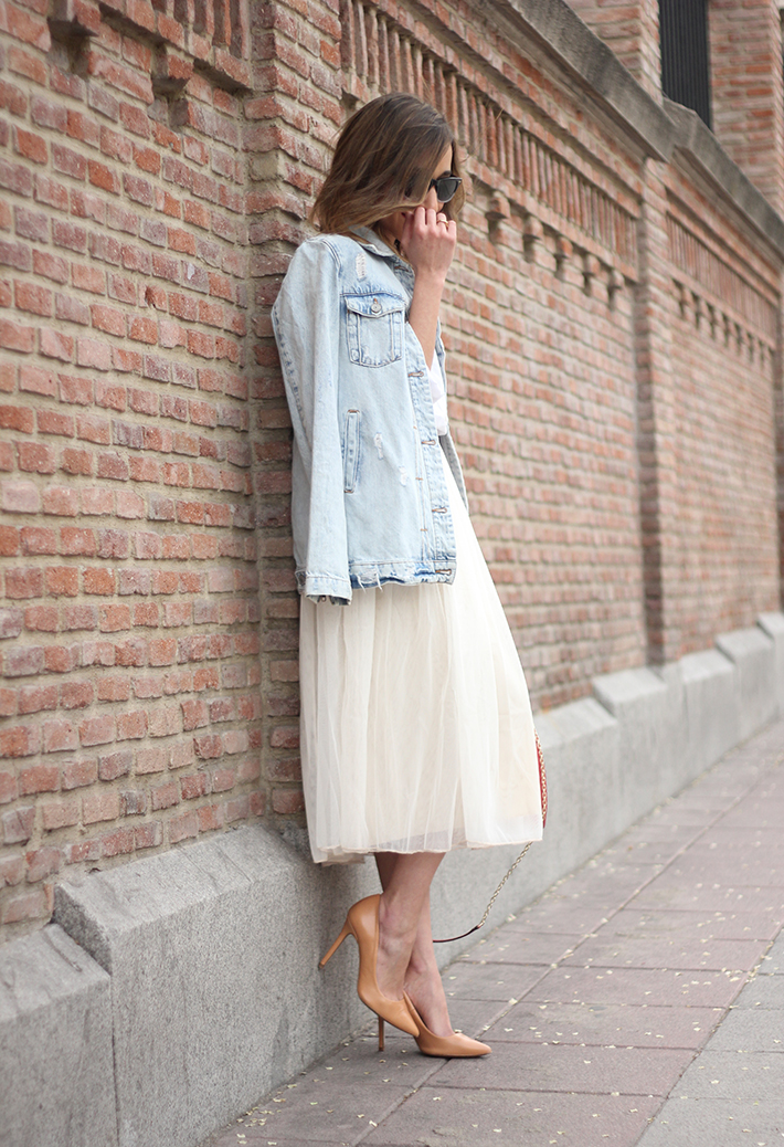 Tulle Skirt Denim Jacket07