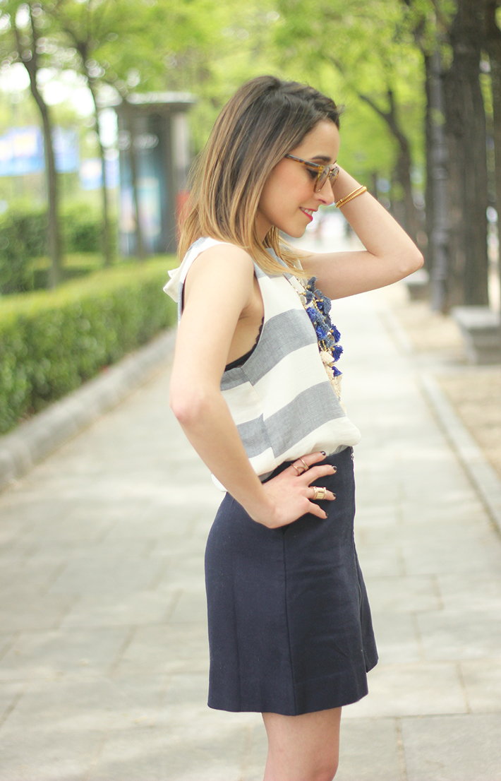 Blue Skirt Striped Top fringed sandals06